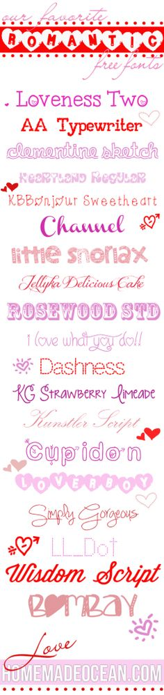 Favorite Romantic Free Fonts