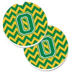 Letter O Chevron Green and Gold Set of 2 Cup Holder Car Coasters CJ1059-OCARC