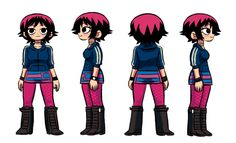 """SCOTT PILGRIM & RAMONA FLOWERS TURNAROUND SHEETS BY AARON ANCHETA in early 2010 when the scott pilgrim movie machine was ramping up, i was super busy working on finest hour and the merchandising team wanted some """"official character sheet"""" type nonsense so i got my l'il assistant Aaron Ancheta to whip these up. He is gr8. of course, I don't think anyone ever used these for anything, bc they basically clipped art from the books (or game or movie) for all the t-shirts and other merch."""