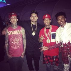 Chris Brown with Travis Barker, Tyga, and August Alsina