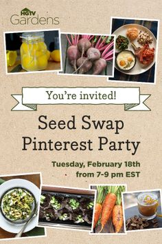 Help us celebrate HGTVGardens' 1st birthday and plan your spring garden. You're invited to our seed swap pinterest party! --> http://www.hgtvgardens.com/spring-gardening/youre-invited-to-a-seed-swap-pinterest-party?soc=pinterest
