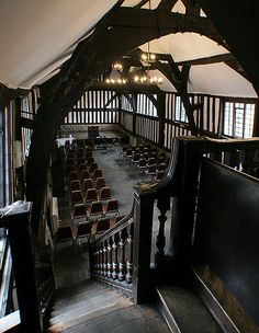 Leicester Guildhall great hall. View from top of the stairs, built in the late 1300s