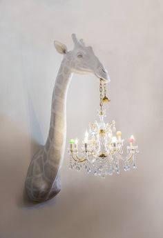 Yes please to this Giraffe holding a chandelier lampshade! The artist creates the handmade objects with traditional sculpture techniques adding an unexpected twist — classical chandeliers or their parts. Chandeliers, Design Jobs, Design Design, Room Decor For Teen Girls, Girls Bedroom, Bedrooms, Traditional Sculptures, Sculpture Techniques, Deco Boheme
