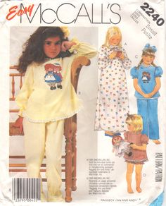 1970s McCalls 2240 Girls Easy Nightgown Footed Pajamas Pattern Raggedy Ann Andy Transfer Childs Vintage Sewing Pattern Size SM Breast 23 25 by mbchills on Etsy https://www.etsy.com/listing/195655396/1970s-mccalls-2240-girls-easy-nightgown