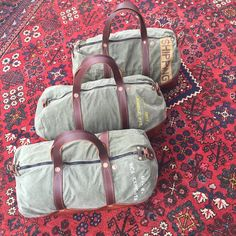 Some new Horse and Anchor getaway duffel bags getting ready to head overseas. I hopefully will have some up on the website soon. These are vintage military pup tent cloth lined with a lighter weight cone denim, buffalo shoulder straps, cow hide bottom, copper rivets reinforced with hand cut leather washers, vintage dead stock double zippers. I used vintage 1940's stencils to make the stencils on these bags.