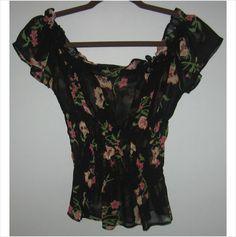 Ladies black flowered printed top,Size-Large