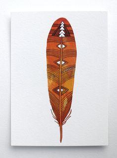 Feather Art Watercolor Painting par RiverLuna sur Etsy, $10,00