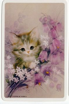 Swap Cards Playing Cards Vintage Cute 1970's Cats Kitten Flowers Blank Back | eBay