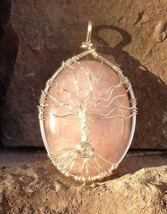 Tree of life rose quartz pendant