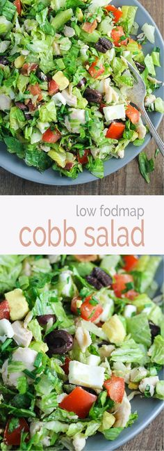 Light and easy this low fodmap cobb salad is one of my FAVORITE recipes! And, the homemade red wine vinaigrette pairs perfectly with all the fresh flavors in this lunch favorite!