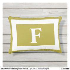 Yellow Gold Monogram Bold Initial Outdoor Pillow Monogram Pillows, Monogram Initials, Outdoor Throw Pillows, Artwork Design, Favorite Color, Plush, Yellow, Gold, Sweatshirts