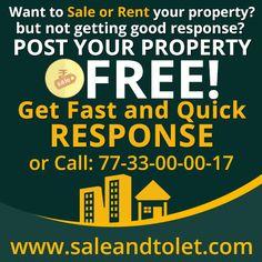 Post your property information here http://www.saleandtolet.com/tolet-or-sale-property.php