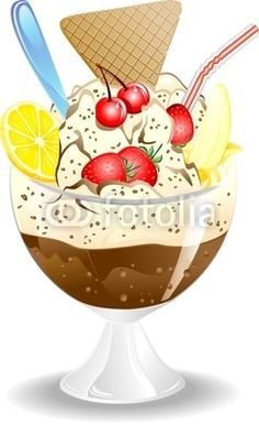 Ice Cream and Fruit Cup-Vector © bluedarkat