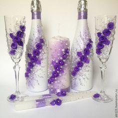 Купить Свадебный комплект сиреневый - сиреневый, свадебные бокалы с лепкой, свадебное шампанское, свадебные аксессуары