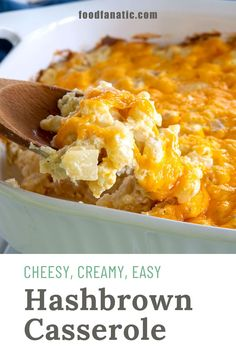 Creamy, easy, cheesy hashbrown potato casserole with sour cream that's so versatile it can be served for breakfast, lunch or dinner! Easy Potato Casserole, Cheesy Potato Bake, Easy Baked Potato, Hashbrown Breakfast Casserole, Sour Cream Potatoes, Canned Potatoes, Breakfast Snacks, Breakfast Ideas, Breakfast Recipes
