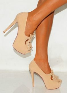 CHIQ | NUDE SUEDE BOW PEEP TOES PLATFORM HIGH HEELS COURT SHOES