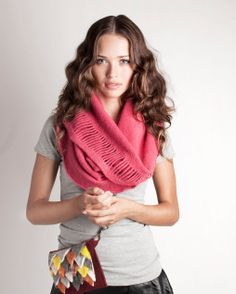 Infinity scarf circle scarf Cowl scarf Strong pink by texturable, $75.00