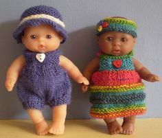 """Mini Doll Summer Time-This pattern is available as a free Ravelry download. Another set of clothes for 5"""" baby dolls, this time for summer wear. The pattern includes instructions for a sundress with knickers and headband and also a romper suit with sunhat. All the clothes can be knitted with oddments of thin 4 ply yarn, sock yarn is ideal."""