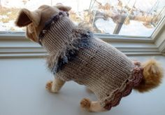 Dog Sweater Hand Knit Emily Small 11 inches long Merino by jenya2, $24.99
