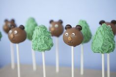 bear + pine tree cake pops