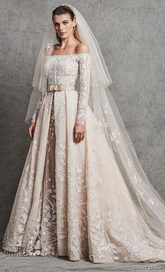 zuhair murad fall 2018 bridal long sleeves off the shoulder straight across neckline heavily embellished bodice romantic princess ivory a  line wedding dress chapel train (2) mv -- Zuhair Murad Fall 2018 Wedding Dresses