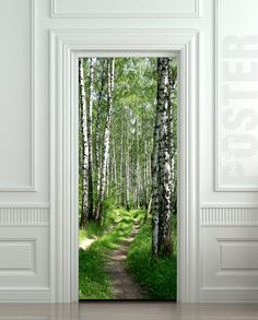 Door STICKER wood tree forest birch way mural decole film self-adhesive poster…