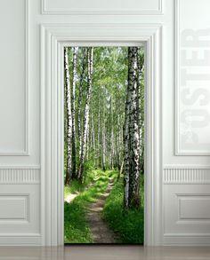 Door STICKER wood tree forest birch way mural decole by Wallnit, $39.99