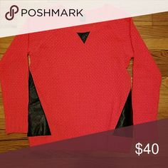 pink knit sweater w/ leather accents, Medium NWOT Brand: EMPRE perfect mint condition Sweaters