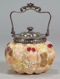 Mt. Washington Crown Milano Cracker Jar,   Late 19th Century.