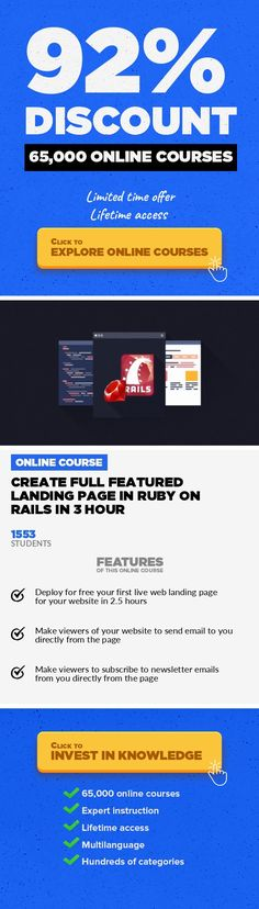 "Create full featured Landing Page in Ruby on Rails in 3 hour Web Development, Development #onlinecourses #ProgrammeCourses #onlinemastersdegreeDeploy for free your first live web page with ability of subscription to newsletters and sending mails to site admin. UPDATE(Aug, 2016): ""Added Videos on how to Install the Ruby on Rails in different Operating Systems"". -----------------------------------..."