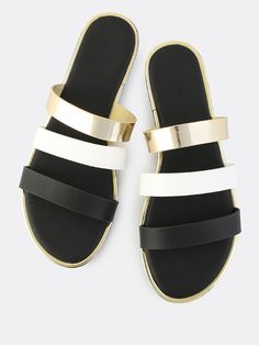 Shop Triple Band Metallic Trim Sandals BLACK online. SheIn offers Triple Band Metallic Trim Sandals BLACK & more to fit your fashionable needs.
