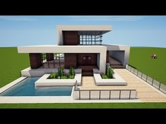 Minecraft Modern Mansion, Minecraft Villa, Minecraft House Plans, Easy Minecraft Houses, Minecraft House Tutorials, Minecraft Room, Minecraft City, Minecraft House Designs, Minecraft Construction