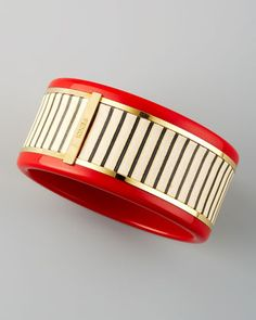 Resin Leather-Striped Bracelet, Red by Fendi at Bergdorf Goodman.
