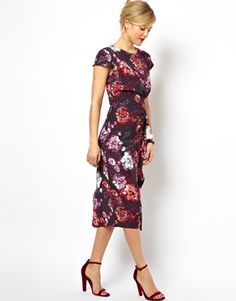 Enlarge ASOS Pencil Dress With Waterfall Skirt In Floral Print