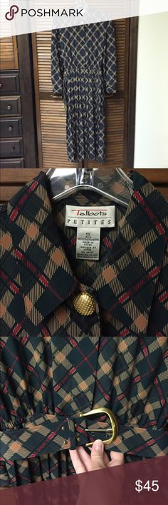 ✨Vintage✨ 80s Plaid Work Dress Excellent condition. Beautiful Talbots vintage dress in a bold and fun print with green, tan and red! Dress has hidden buttons down the front and statement gold button near collar. Dress has an elastic waistband, maxi pleated skirt and comes with awesome matching belt. Also has gold buttons at the bottom of each sleeve to close. Sure to make a statement in the workplace! Talbots Dresses
