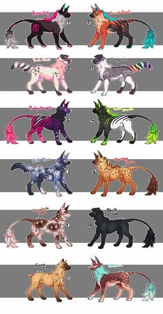 ARTIST NOTES Here's a large batch of mixed domestic and feral Jaders featuring natural/abstract designs on the new standing lines for the species! Pet Anime, Anime Animals, Cute Animals, Anime Art, Cute Fantasy Creatures, Mythical Creatures Art, Cute Animal Drawings, Cute Drawings, Wolf Drawings