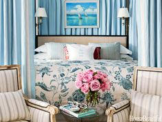 Master Bedroom: China Blue linen bed hangings from Williams-Sonoma Home swath the bed, creating an ethereal air.