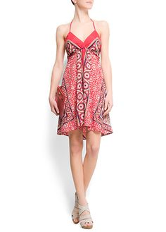 Cute halter summer dress, coral