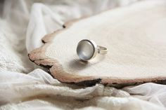 Moonstone Silver Plated Ring Engagement Ring size by kskalozubova