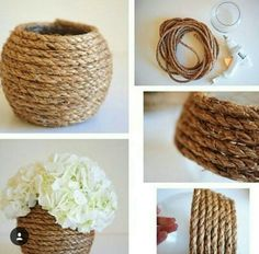 String Crafts, Rope Crafts, Recycled Crafts, Diy Crafts For Home Decor, Creative Crafts, Diy Room Decor, Sisal, Diy Para A Casa, Rope Decor