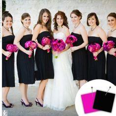 Splash of hot pink and black wedding
