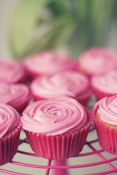 look at these pink cupcakes. yummm and pretty! Perfect Pink, Pink Love, Pretty In Pink, Hot Pink, Cupcake Rosa, Cupcake Cakes, Cup Cakes, Rose Cupcake, Cupcake Toppers