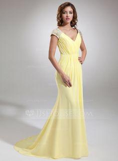 [US$ 136.99] Trumpet/Mermaid V-neck Sweep Train Chiffon Evening Dress With Ruffle Beading (017020987)
