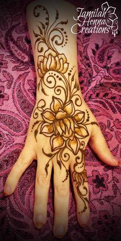 Lotus flower henna, swirls and more www.JamilahHennaCreations.com
