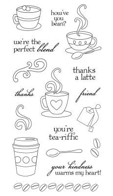 "Fiskars® Clear Stamps - Latte Love, 10.2 x 20.3 cm (4""x8"")"