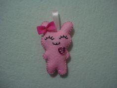 Cute smiling felt Bunny plush doll keychain di BarbaraCreazioni, €4.90