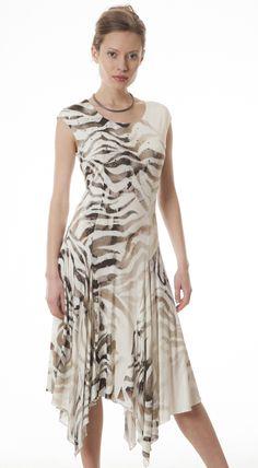 Suknia dzianinowa Brenda beżowe wzory zwierzęce Semper