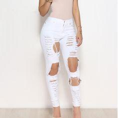 Calça Jeans Rasgado Agujeros