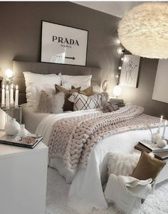Girl Room Decor Ideas - What's the best color for a teenage girl's bedroom? Girl Room Decor Ideas - How do you clean your room fast? Bedroom Decor For Teen Girls, Room Ideas Bedroom, Home Decor Bedroom, Ikea Bedroom, Grey Bed Room Ideas, Adult Bedroom Ideas, Bedroom Ideas For Women, Teen Bedroom Inspiration, Lux Bedroom