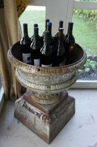Antique Urn as Wine Cooler.  Brilliant!  (Urns and Antlers and Peanut Butter Cups | 2nd-Hand Social)